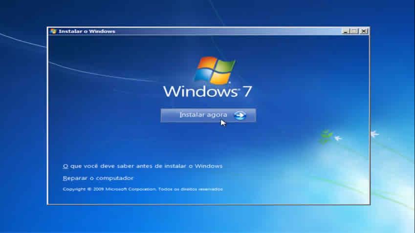 Começo da instalação do windows 7