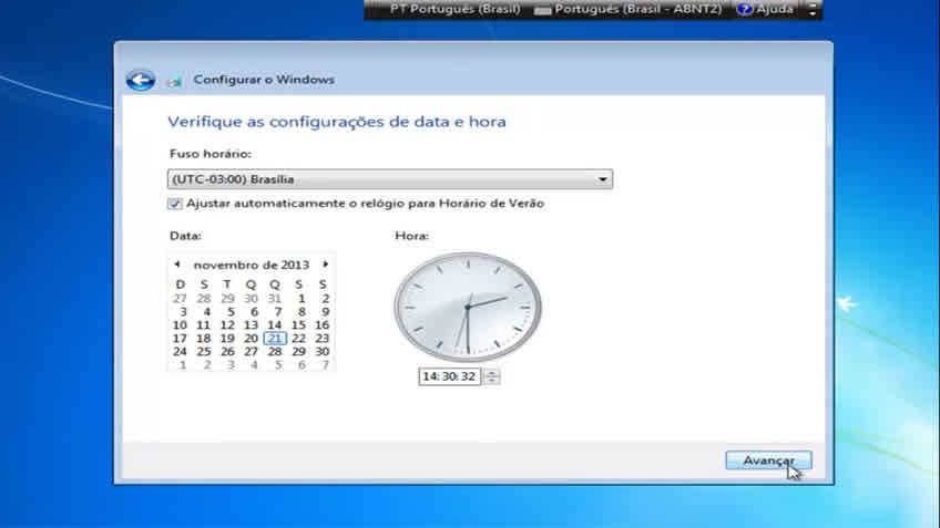 Definindo Data e Hora do Computador
