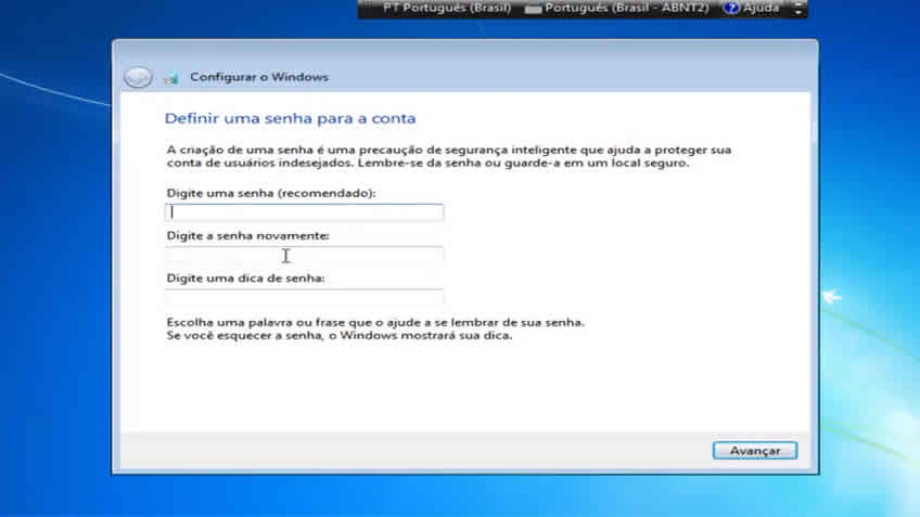Definindo senha para windows 7