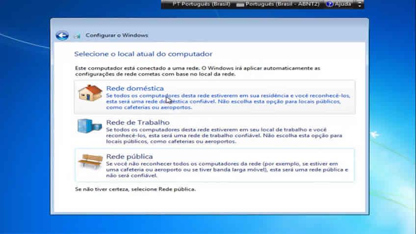 Escolha a rede que windows ira usar