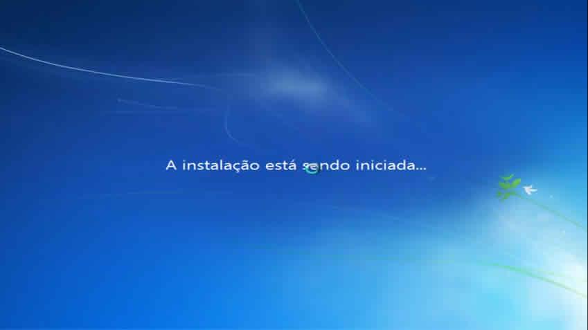 A instalação do windows será iniciada