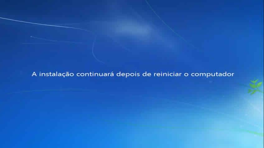 A instalação continuará após o reinicio do windows