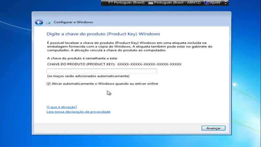 Digite o Product Key do Windows 7