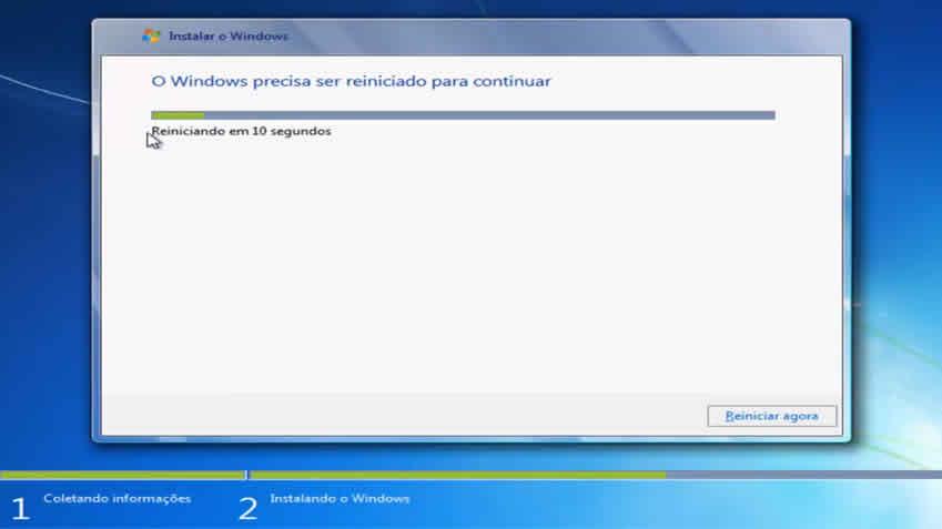 Reiniciando e continuando com instalação do windows 7